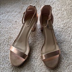 Rose gold block heels